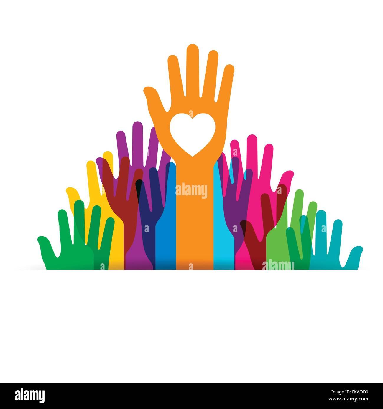 Farbige Hände hoch. Konzeptionelle Idee zur freiwilligen person Stockbild
