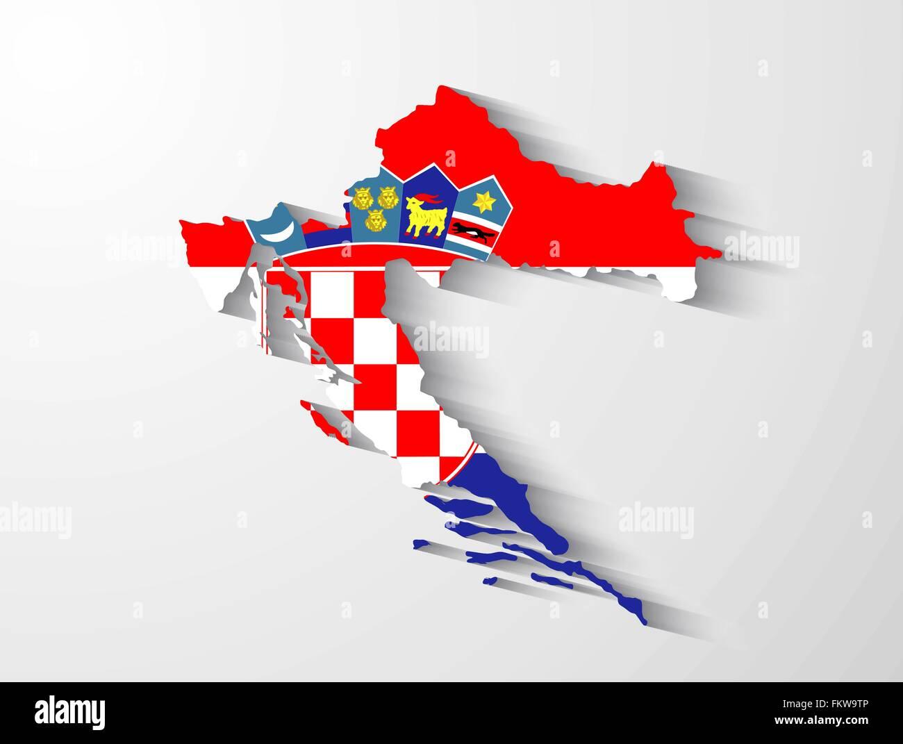 Kroatien Landkarte mit Flagge und Schatten-Effekt Vektor Abbildung ...