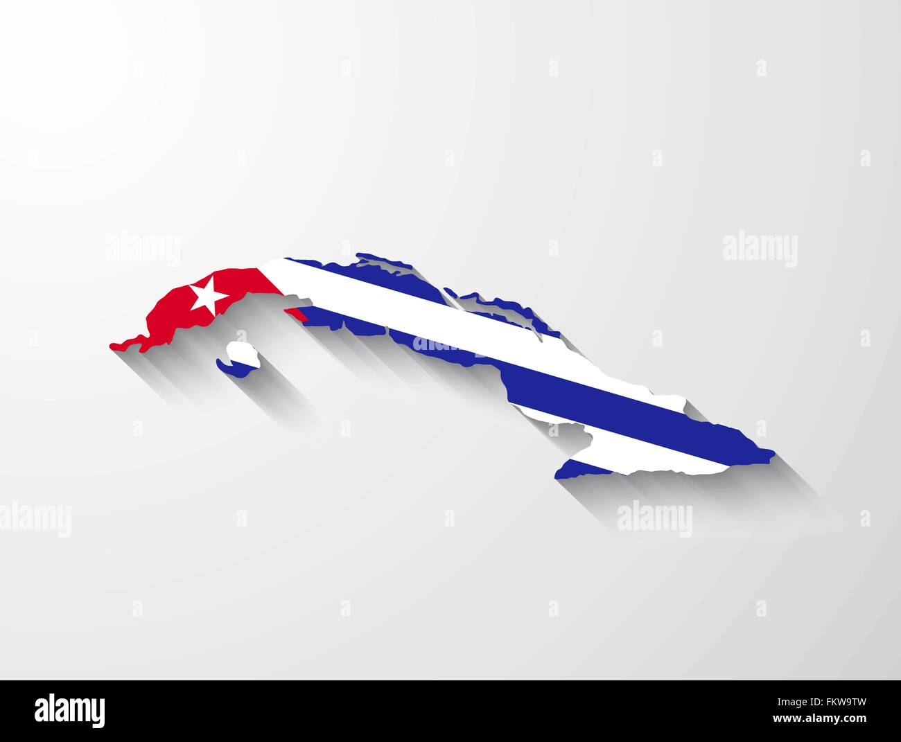 Cuba Landkarte mit Flagge und Schatten-Effekt Vektor Abbildung ...