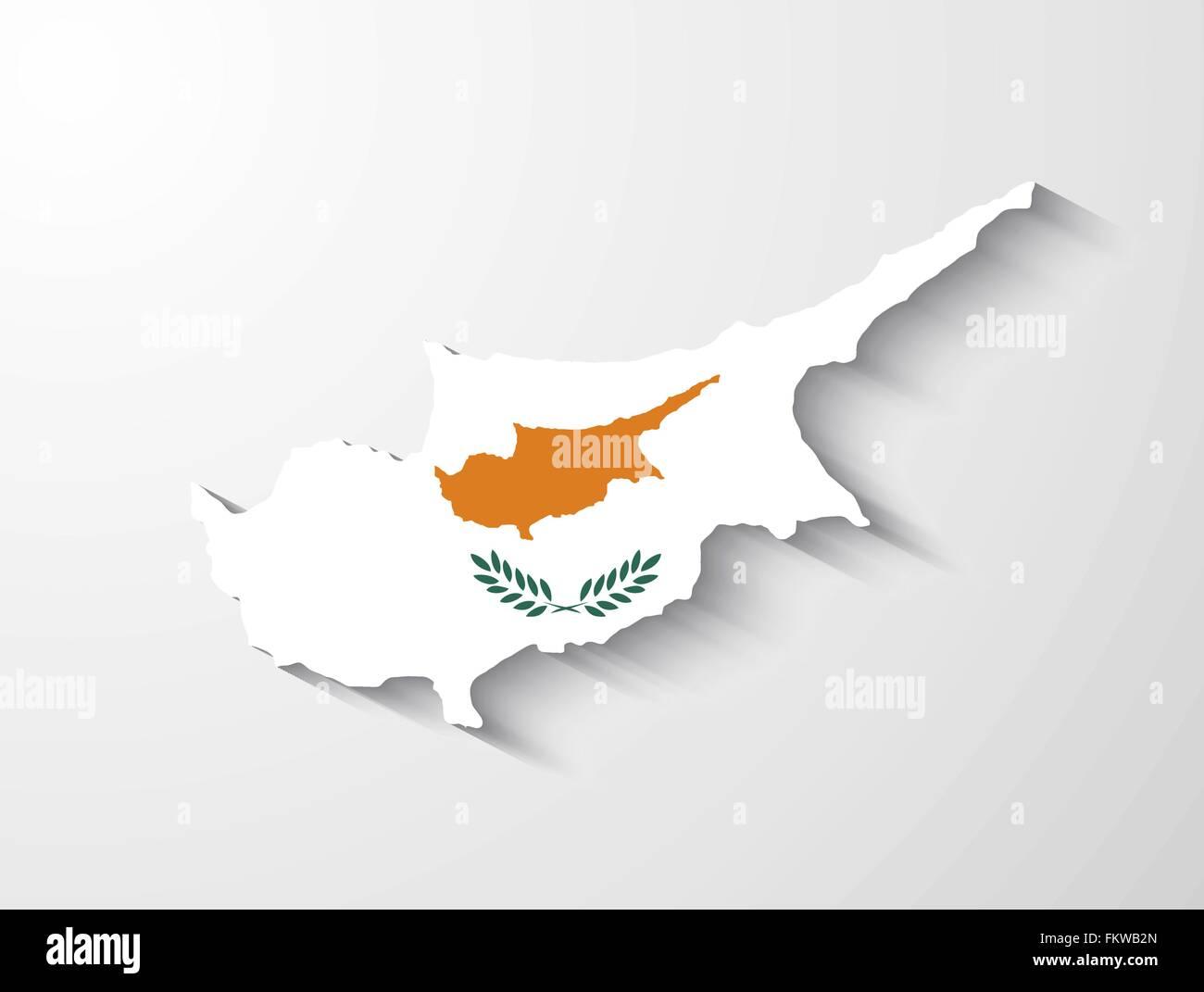 Zypern Landkarte mit Flagge und Schatten-Effekt Vektor Abbildung ...