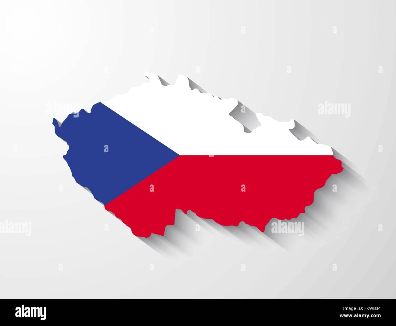 Tschechische Republik Land Map Flagge und Schatten-Effekt Vektor ...