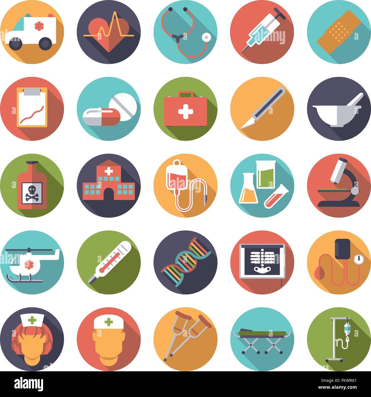 Satz von 25 Medizin- und Gesundheitswesen Verwandte Symbole in Kreisen, flache Bauform, lange Schatten Stockbild