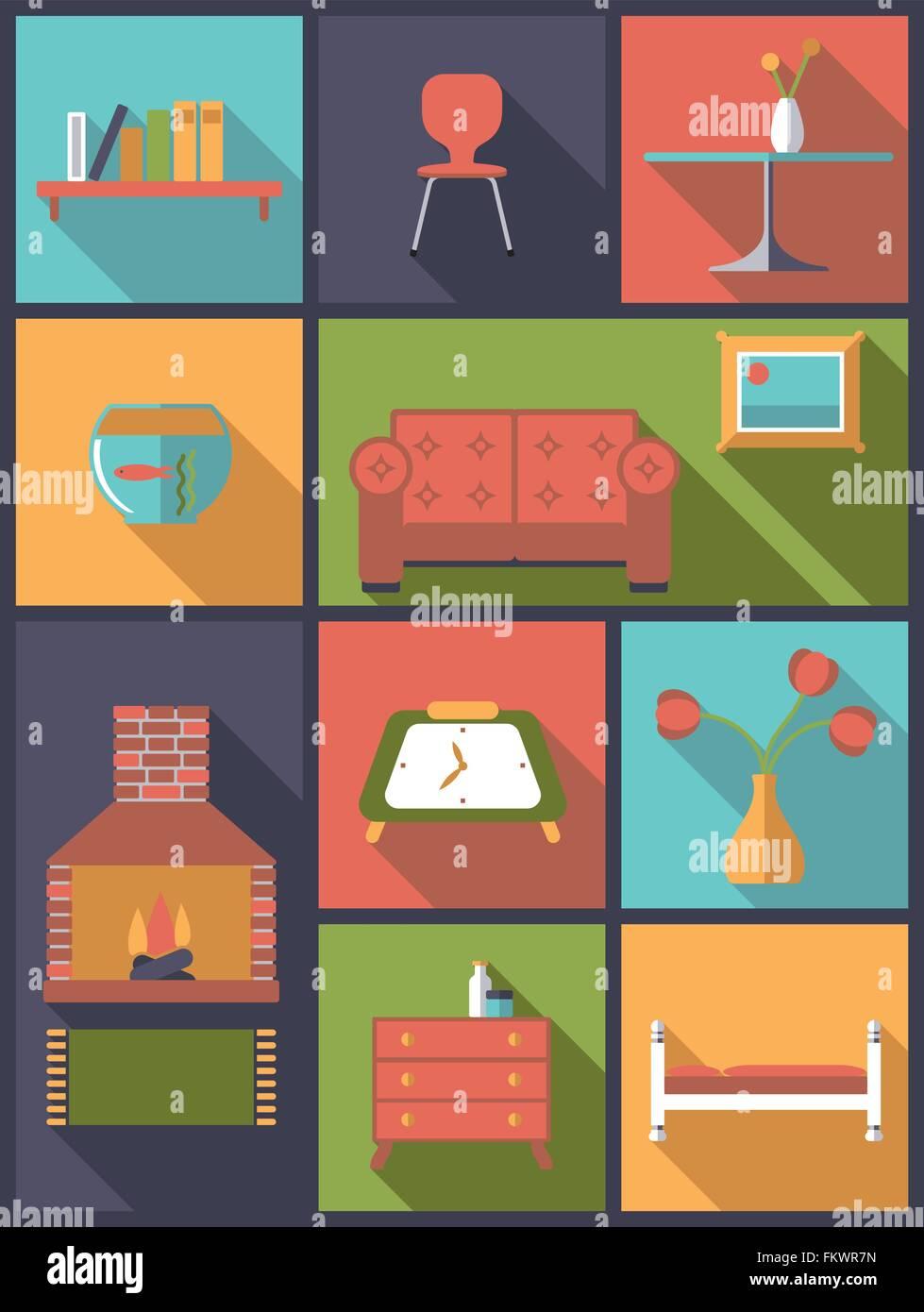 Vertikale flache Design-Darstellung mit verschiedenen Interieur ...
