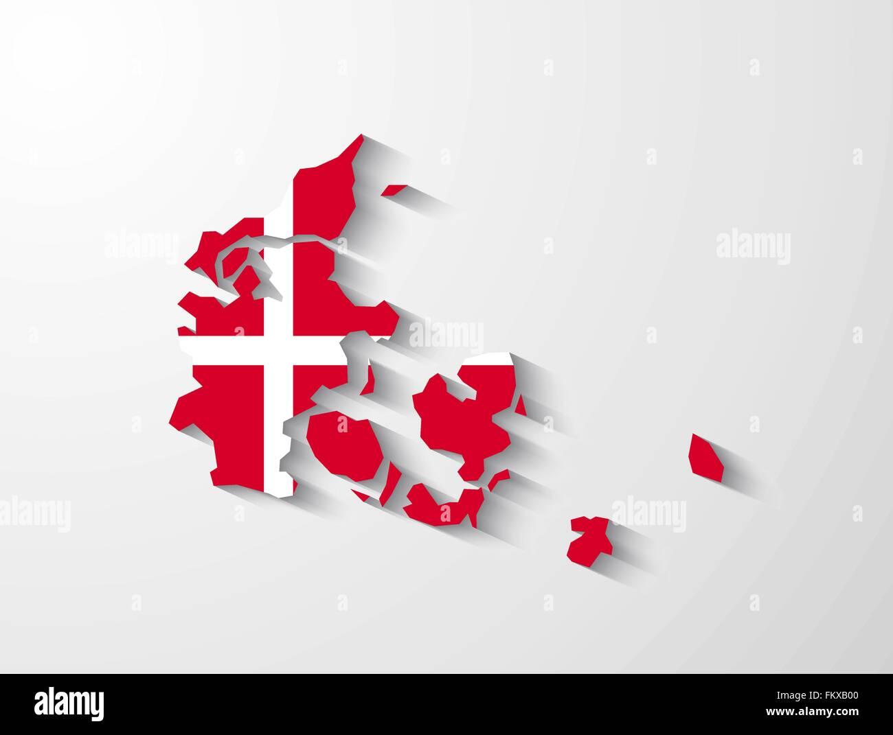Dänemark Landkarte mit Flagge und Schatten-Effekt Vektor Abbildung ...