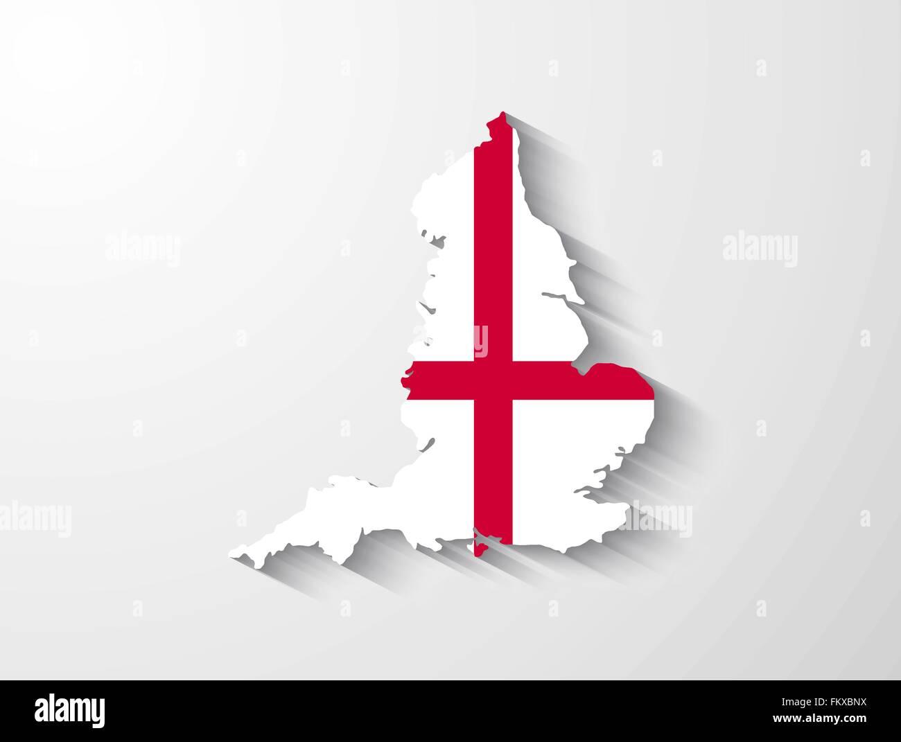 Landkarte England mit Flagge und Schatten-Effekt Vektor Abbildung ...
