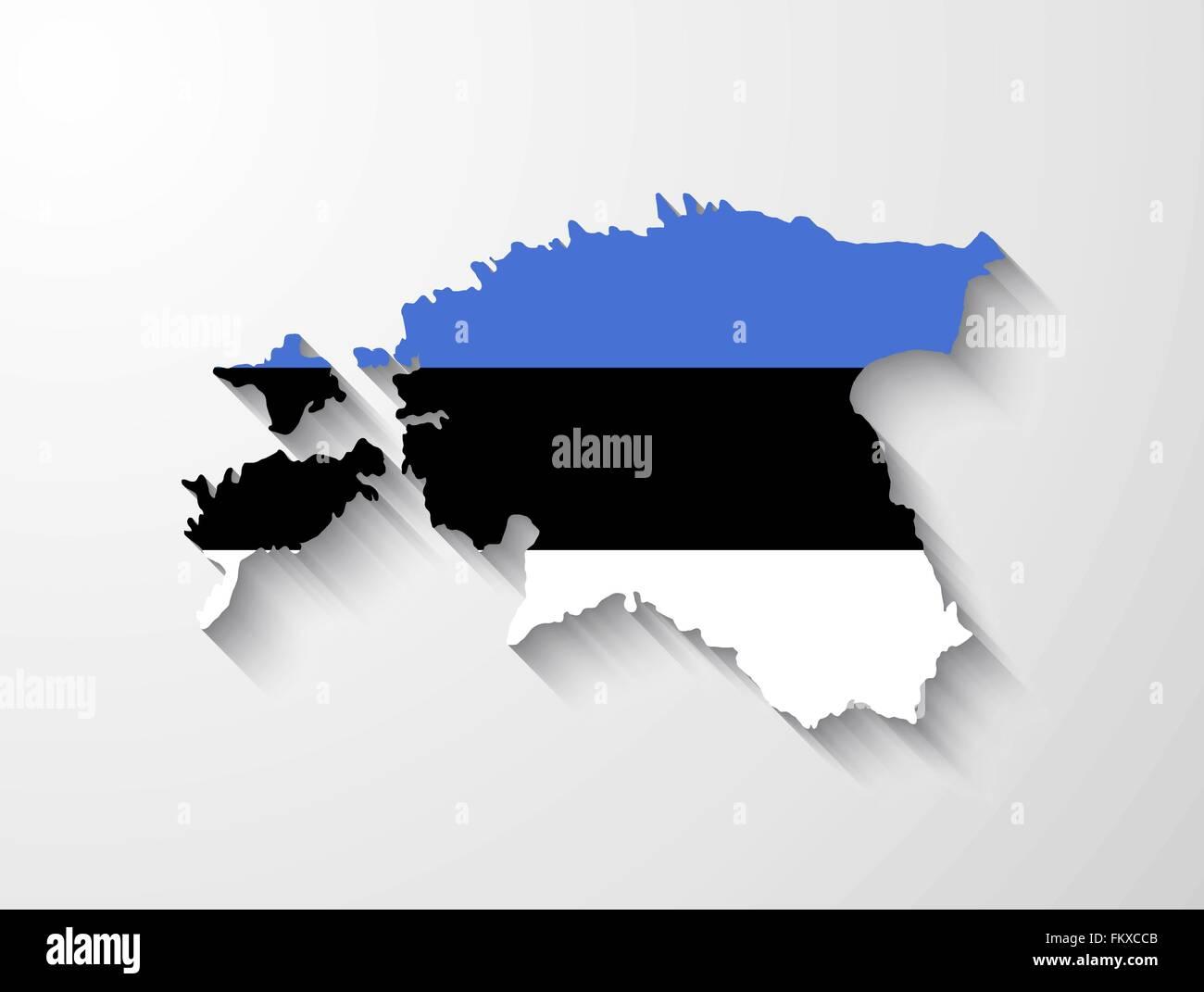 Estland-Landkarte mit Flagge und Schatten-Effekt Vektor Abbildung ...
