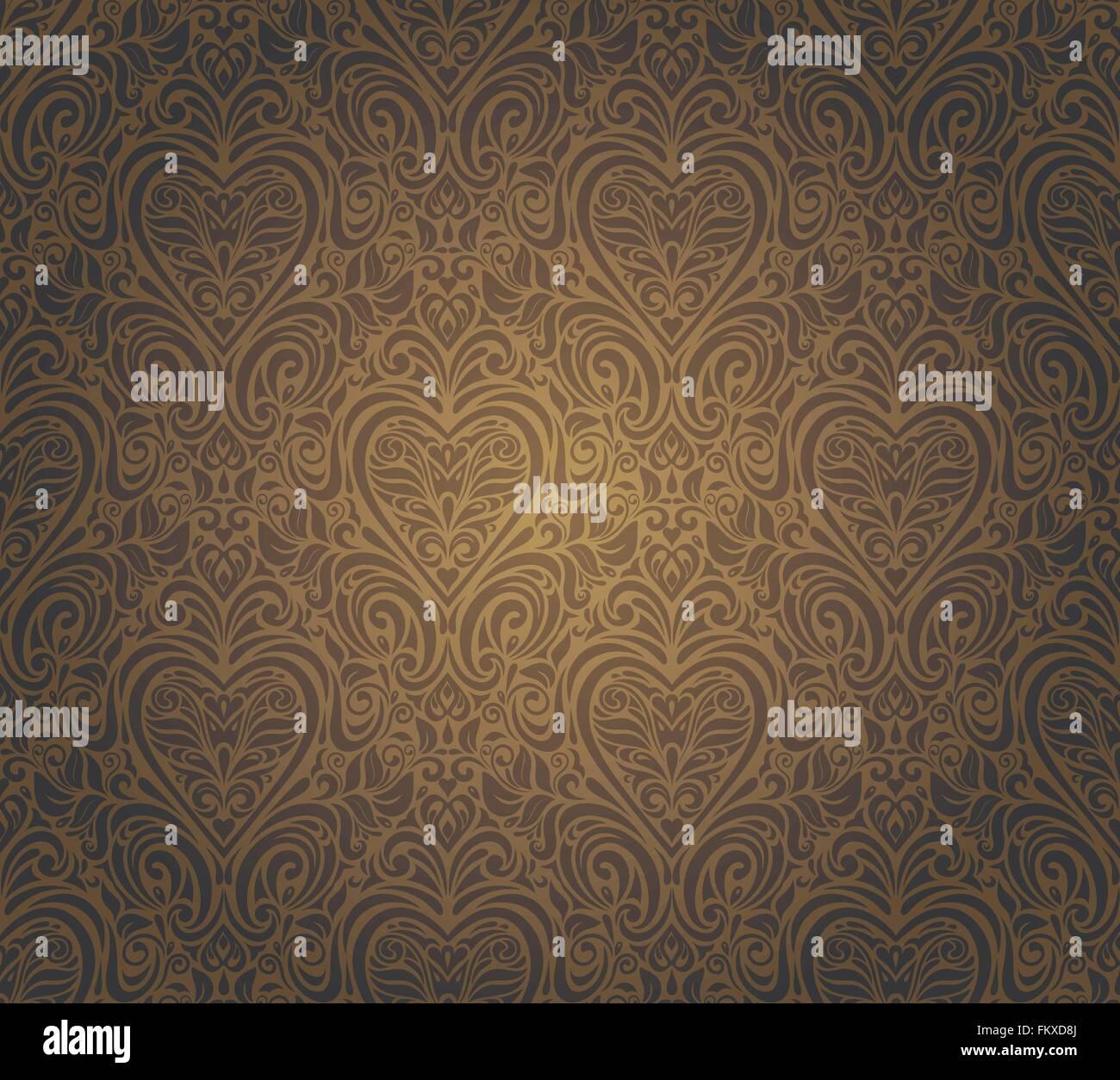 Dunkel Braun Vintage Nahtlose Tapete Design Muster Hintergrund