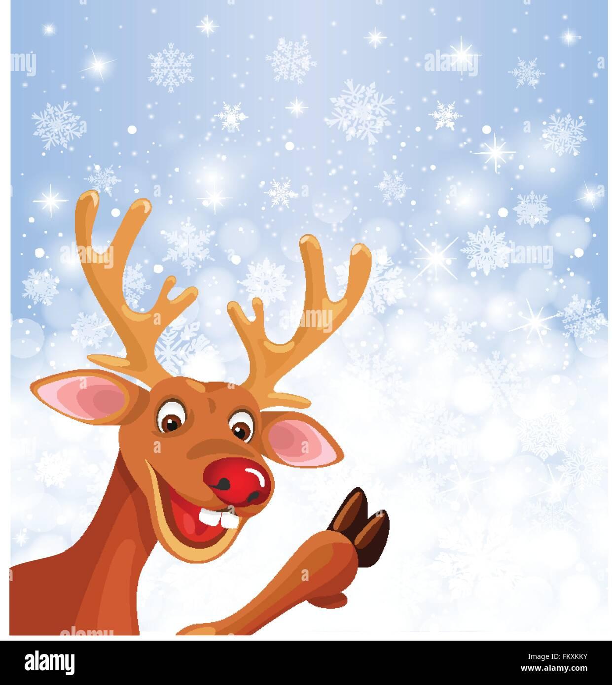 Rentier Rudolph in Ecke des Weihnachten Schneeflocke Hintergrund ...