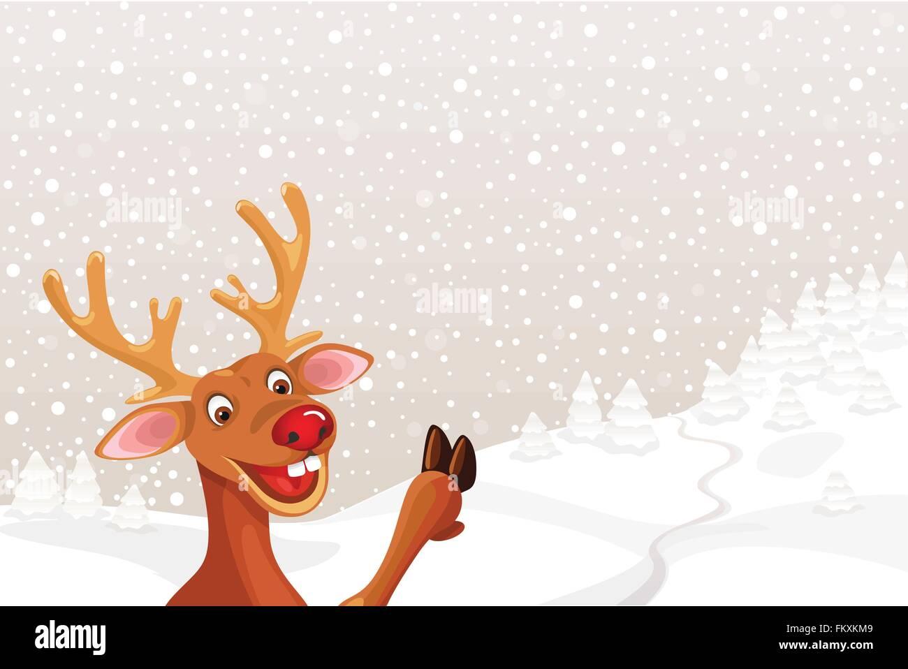 Rentier Rudolph mit textfreiraum Weihnachten Landschaft Schneeflocke ...