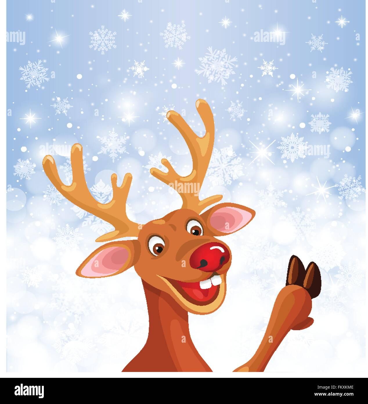rentier rudolph mit textfreiraum weihnachten schneeflocke