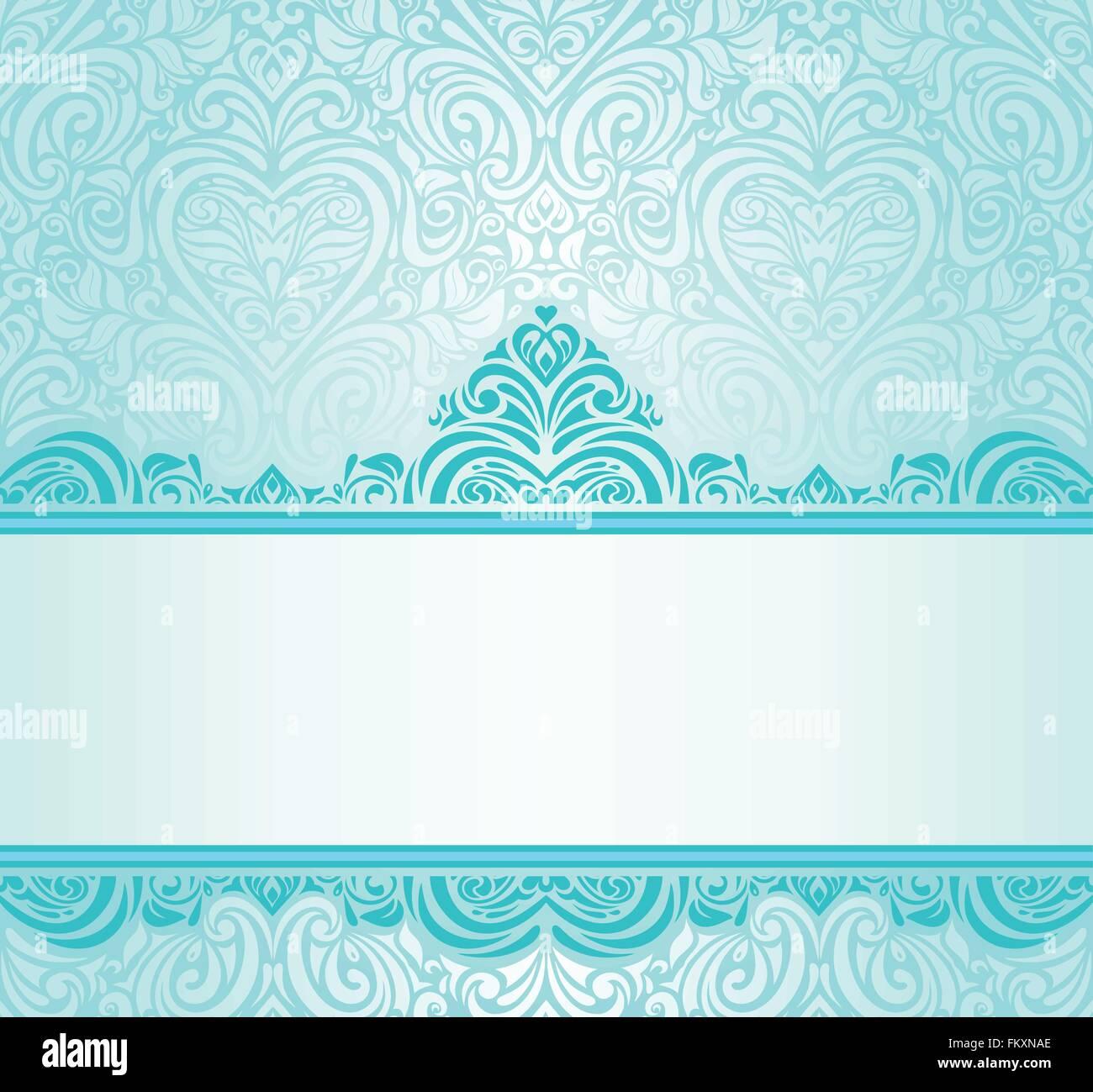 Hochzeit Vintage Turkis Einladung Design Mit Blau Grunen Ornamenten