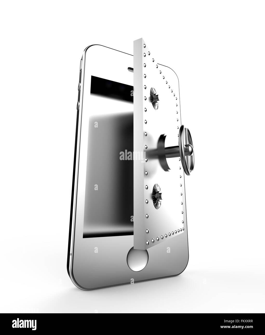 Offene Tür des Safes in einem Smartphone: Sicherheitskonzept Stockbild