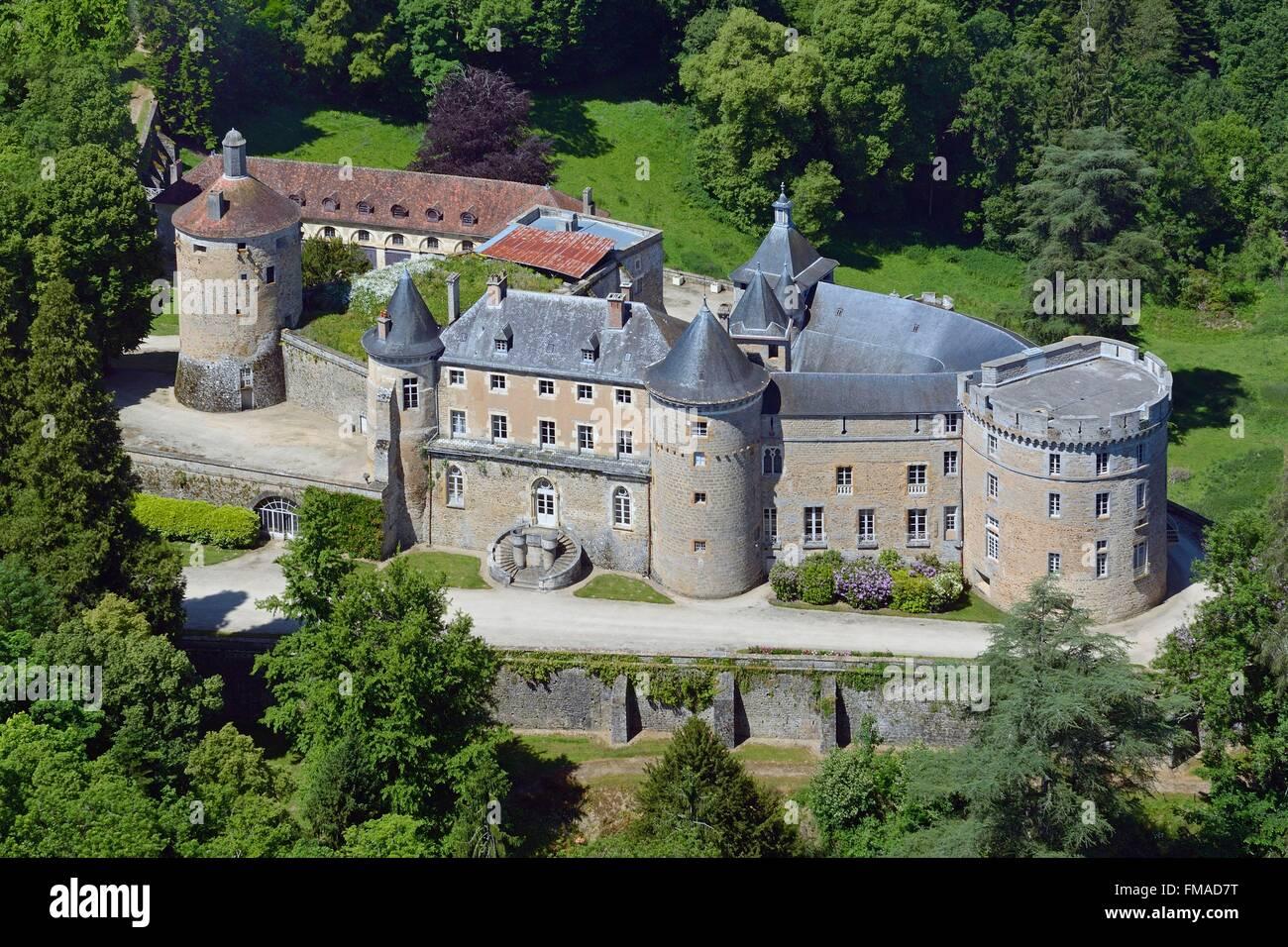 Frankreich, Yonne, Chastellux Sur Cure, das Schloss (Luftbild) Stockbild