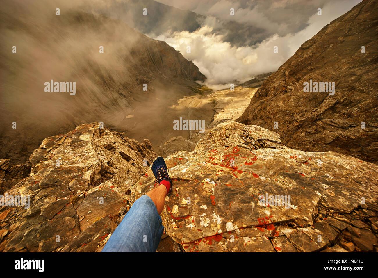 Konzept der Freiheit--Ruht auf dem Berggipfel. Stockbild