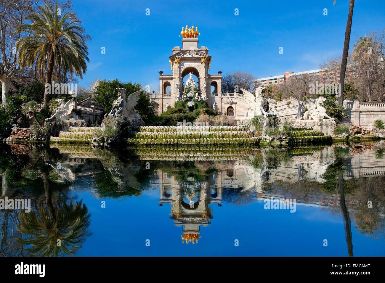 Spanien, Katalonien, Barcelona, Brunnen von Ciutadella Park Stockbild