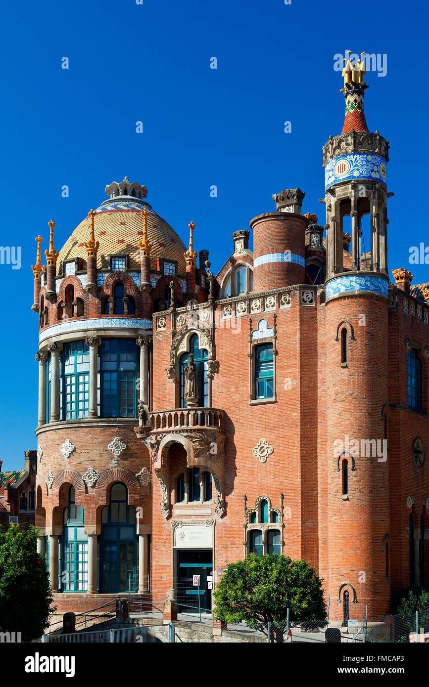 Spanien, Katalonien, Barcelona, El Guinardó Bezirk, Hospital De La Santa Creu ich de Sant Pau als Weltkulturerbe Stockbild