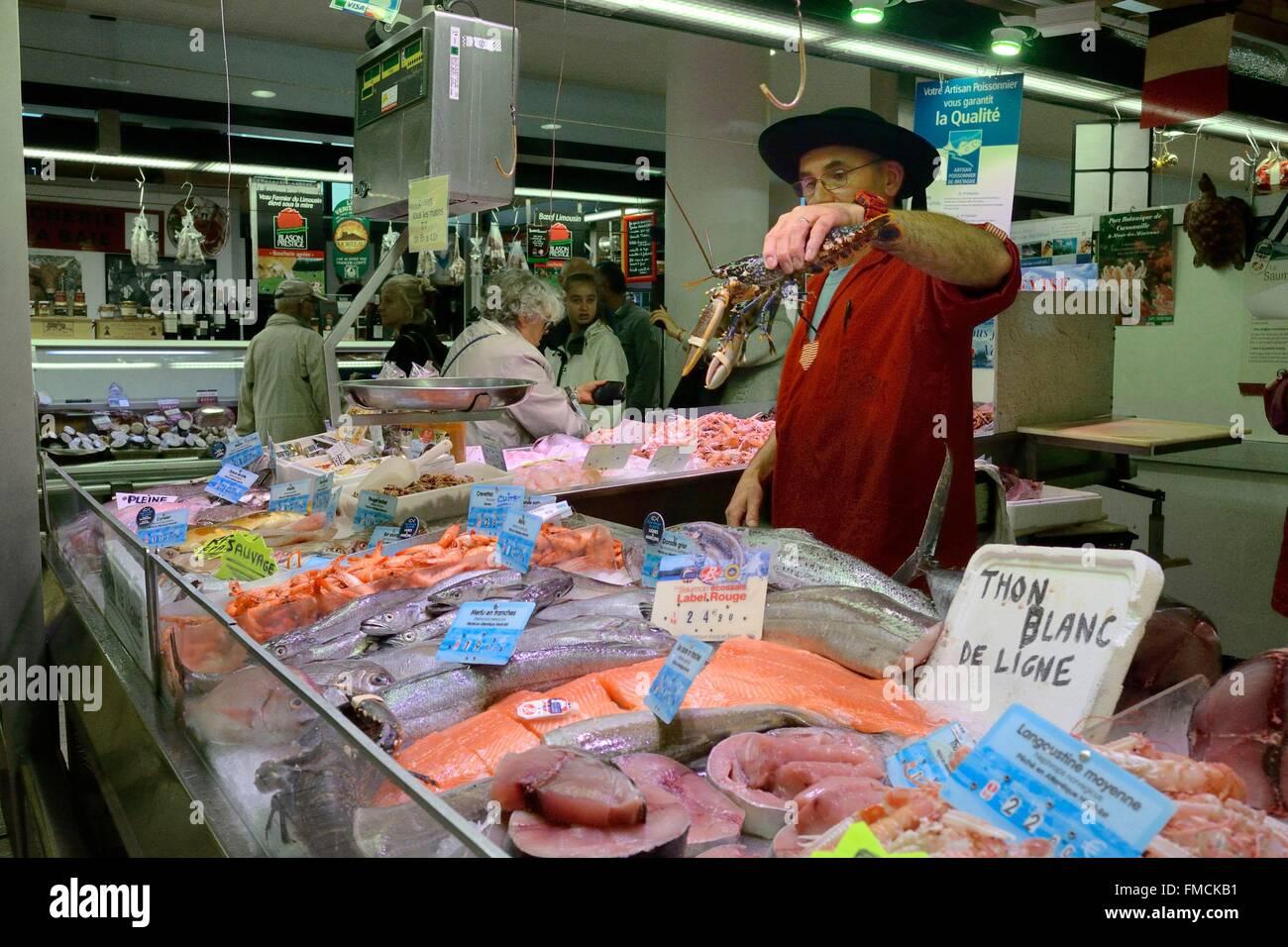 Frankreich, Finistere, die Markthalle, der Fischhändler stall Stockbild