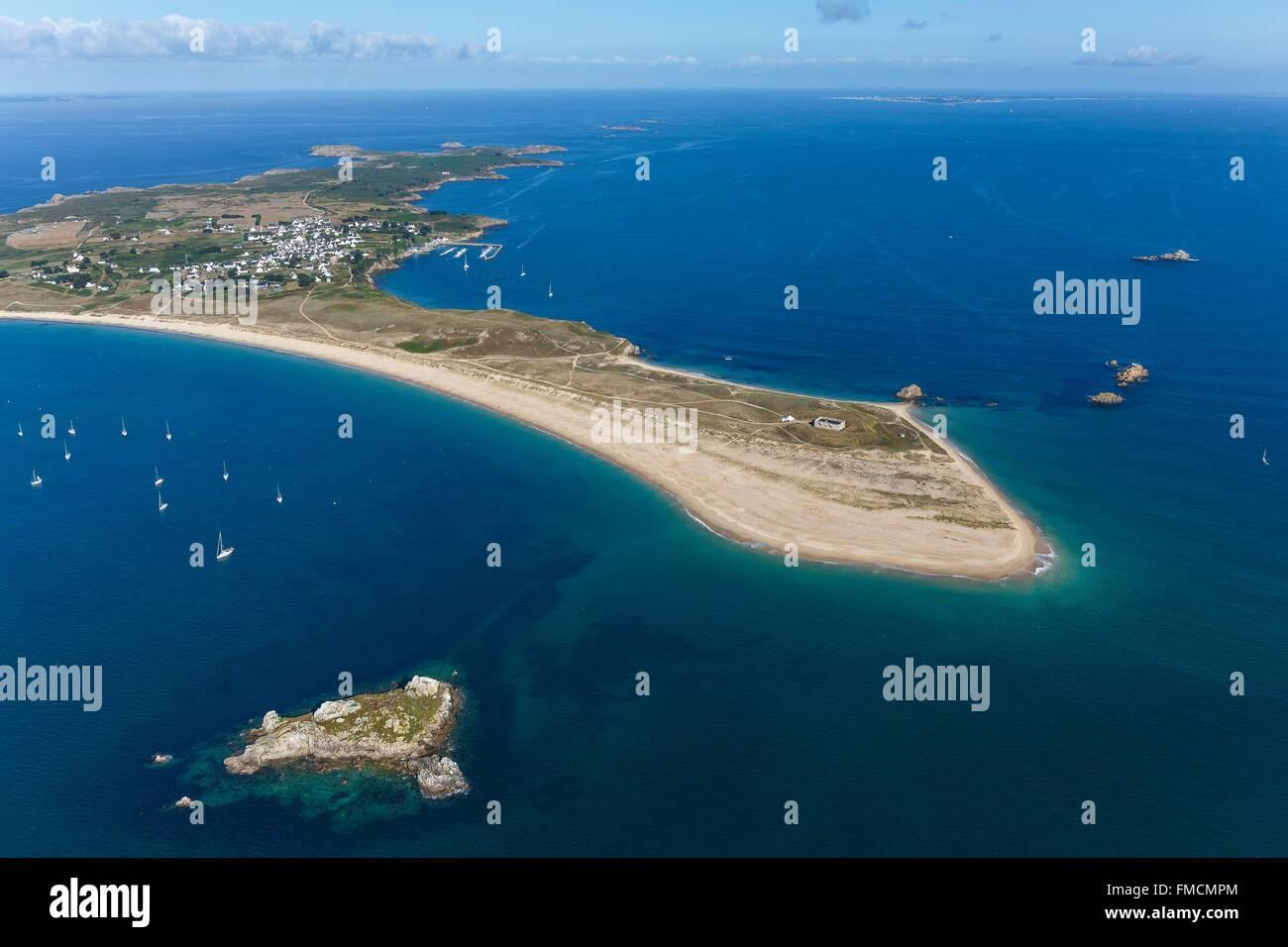 Frankreich, Morbihan, Ile d'Houat, En Tal, Treac'h äh Goured Strand, Er Yoc'h (Luftbild) Stockbild