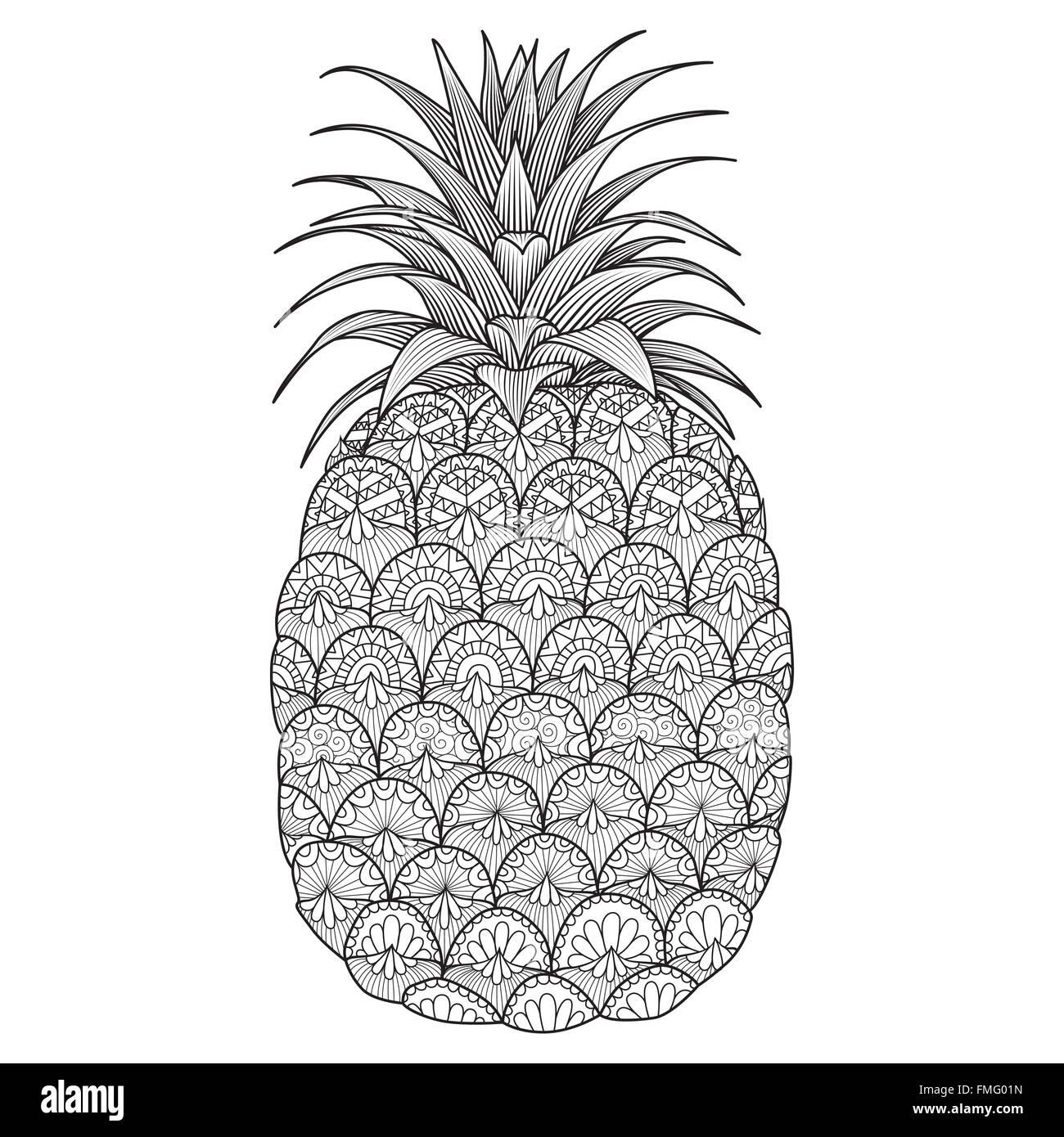 Line-Kunst-Design von Ananas für Malbuch für Erwachsene, Logo, t