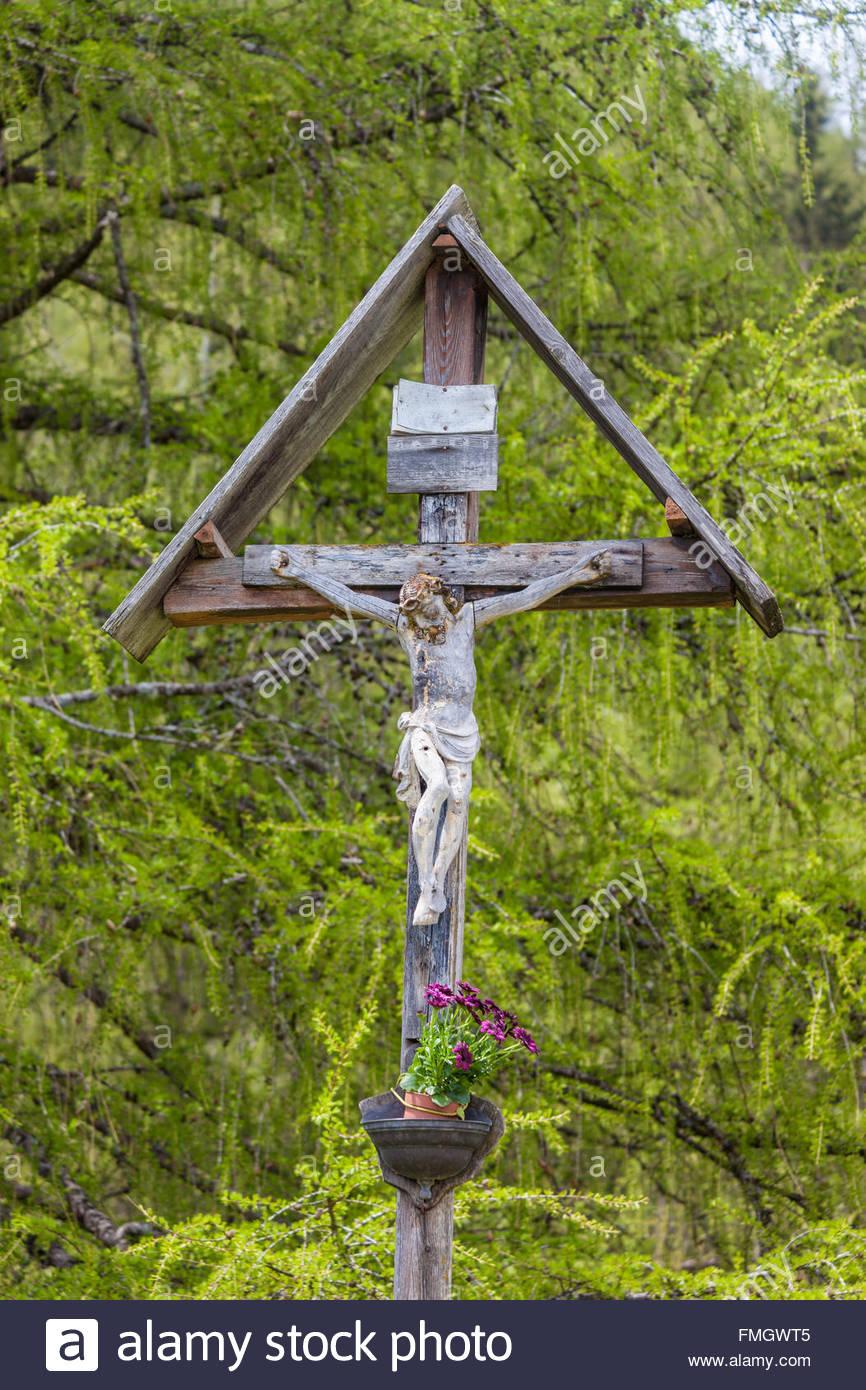 Christlichen Bildstock in Südtirol im Muehlwald Tal, Taufers, Südtirol, Italien Stockbild