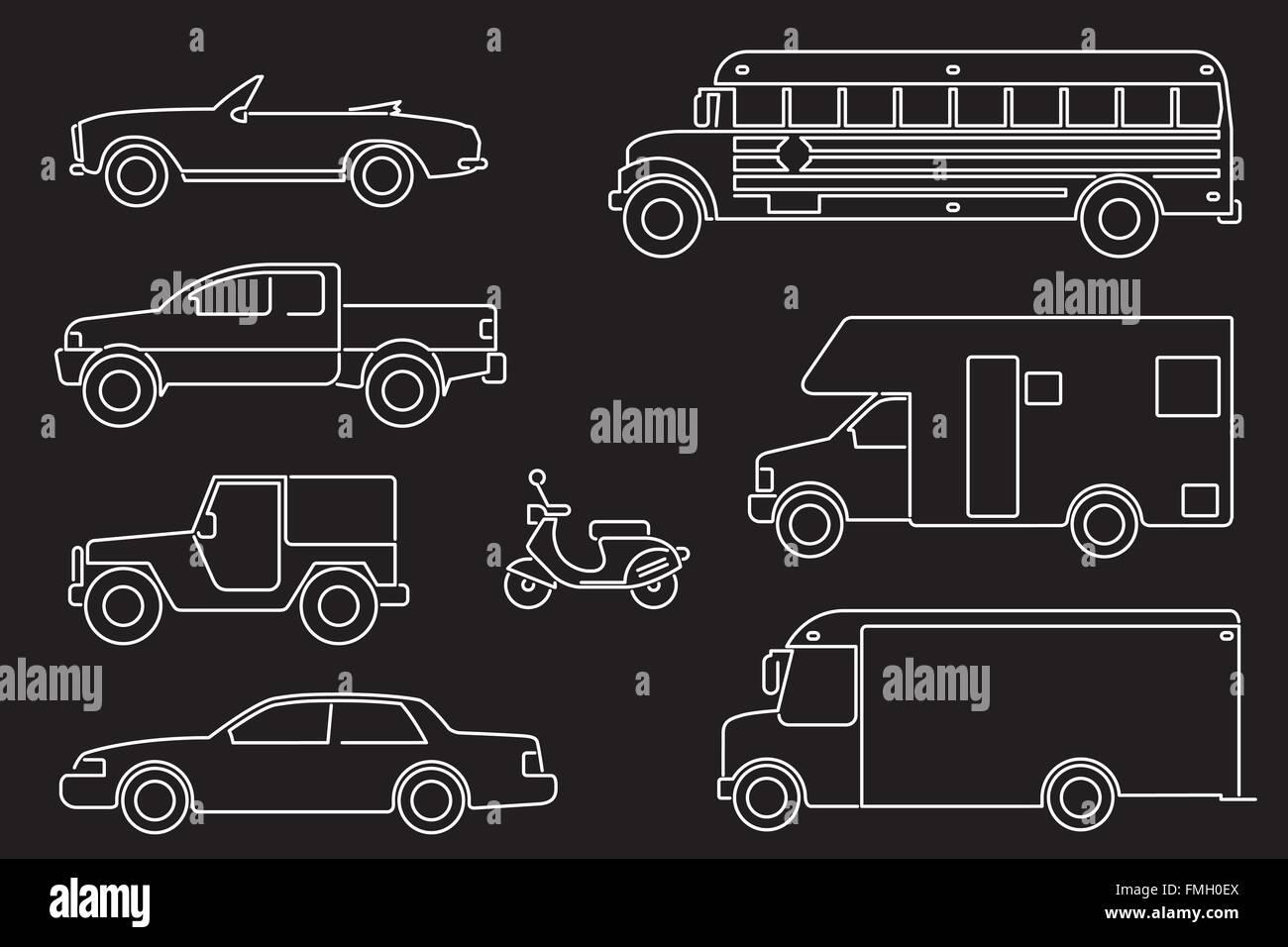 Set von acht Kfz-Illustrationen, Symbol Linienart, weiß auf schwarz Stockbild
