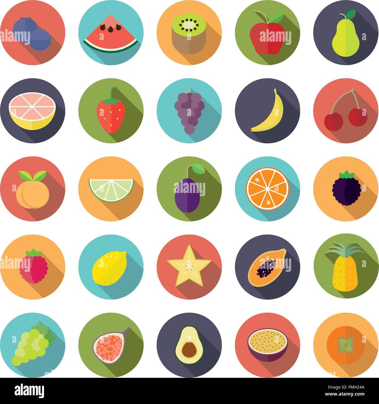 Sammlung von 25 Obst Symbole in Kreisen, flache Bauform, lange Schatten Stockbild