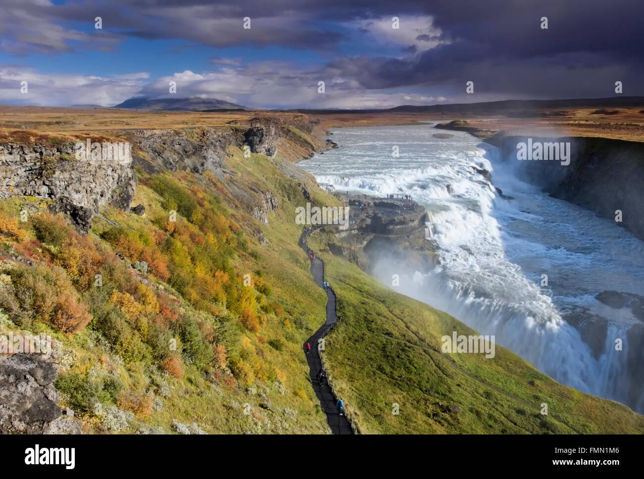 Gullfoss Wasserfall im Herbst, befindet sich auf der Hvítá River, in der Nähe von Geysir, Südwest Stockbild