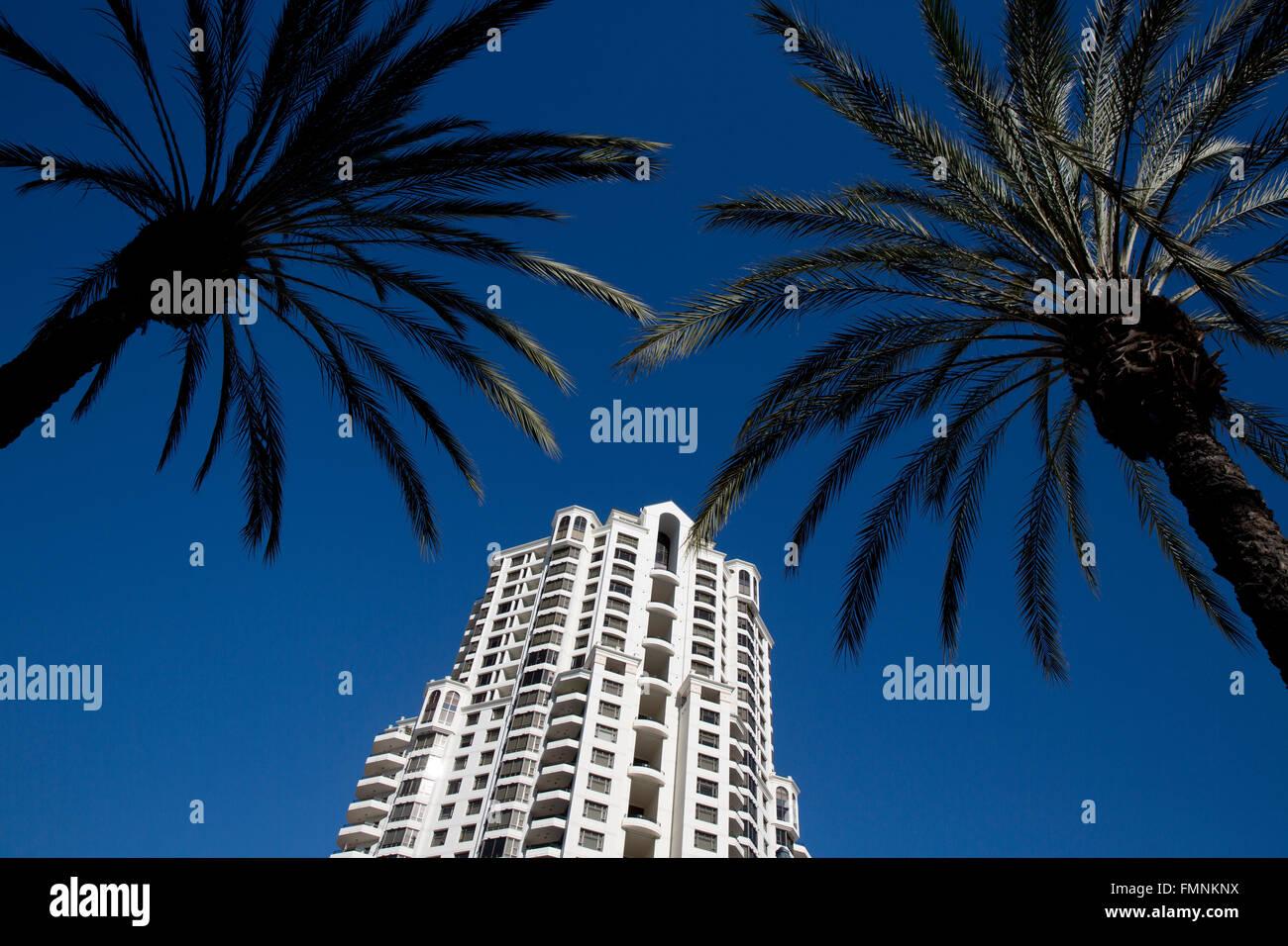 Hochhaus-Wohnanlage, San Diego Kalifornien USA Stockbild