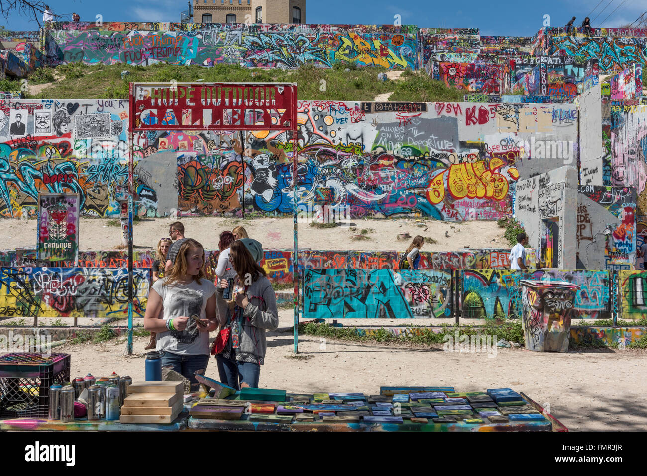 Austin-Graffiti-Park, Schlossberg, Austin, Texas, USA Stockbild