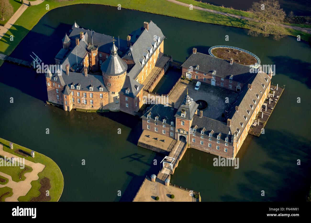 Luftaufnahme, Museum Anholt Schloss, Romantik Parkhotel Wasserburg Anholt, Burg, zurück, zurück, Niederrhein, Stockbild