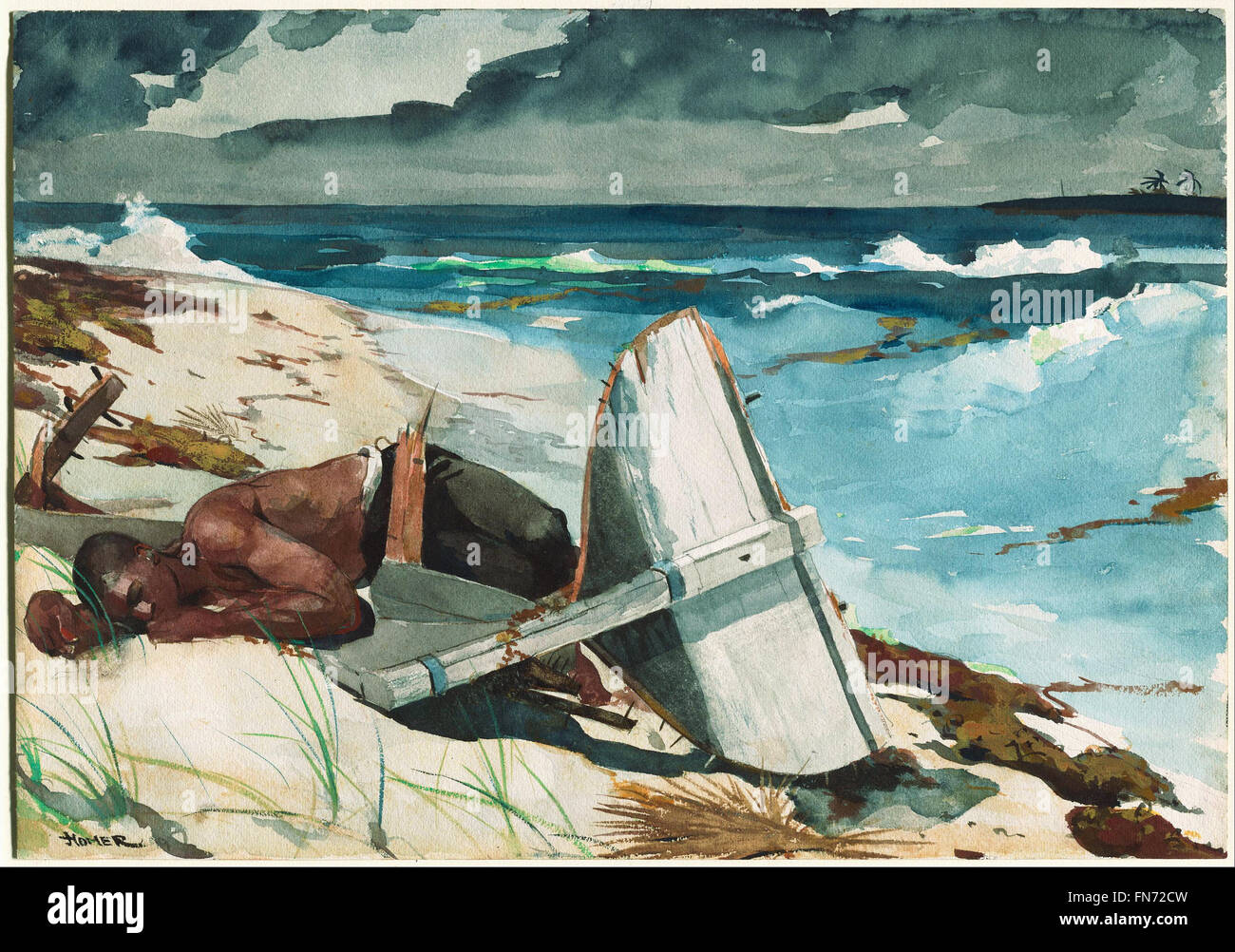 Winslow Homer - nach dem Hurrikan, Bahamas Stockbild