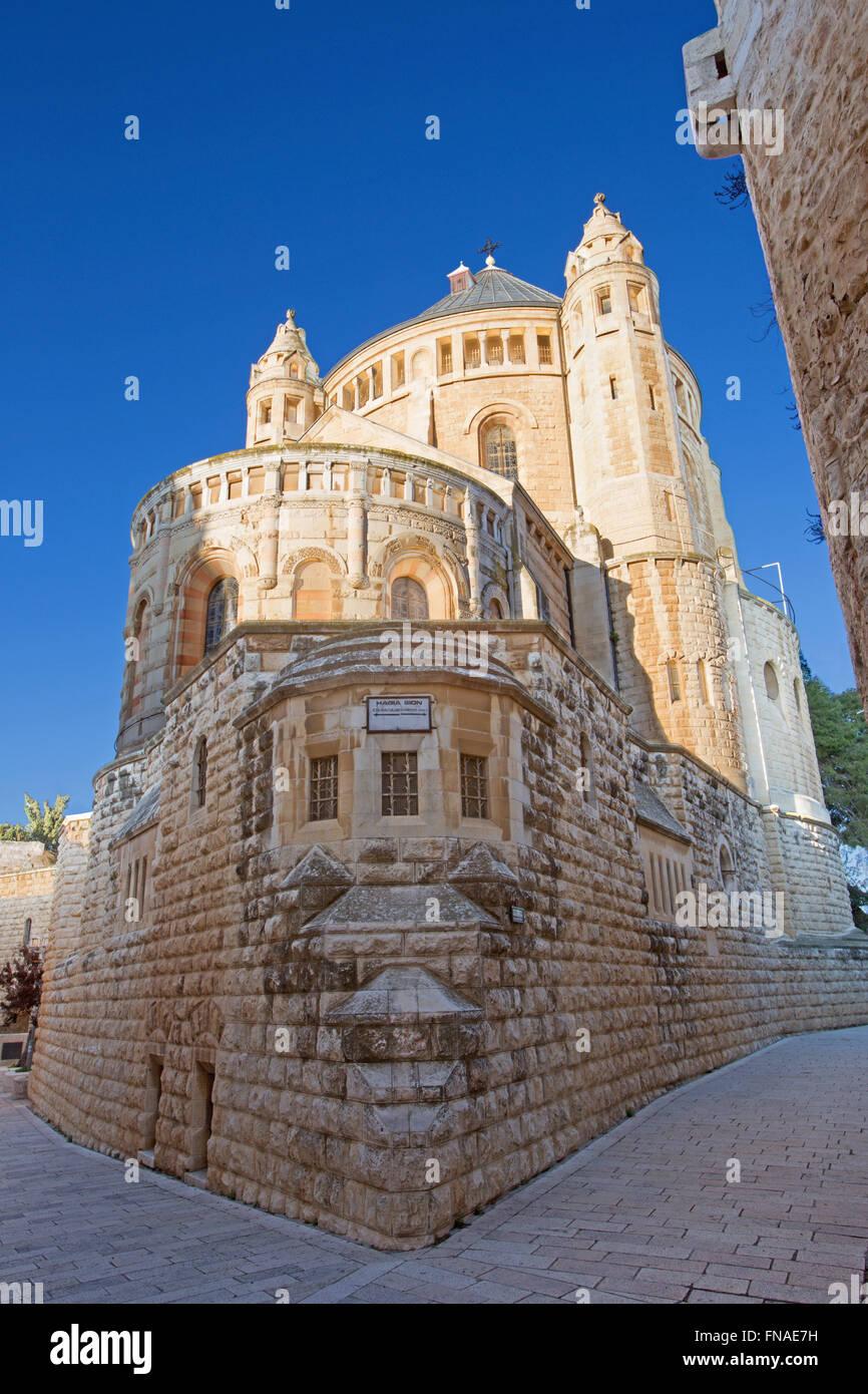 Jerusalem - Dormitio-Abtei-Kirche. Stockbild