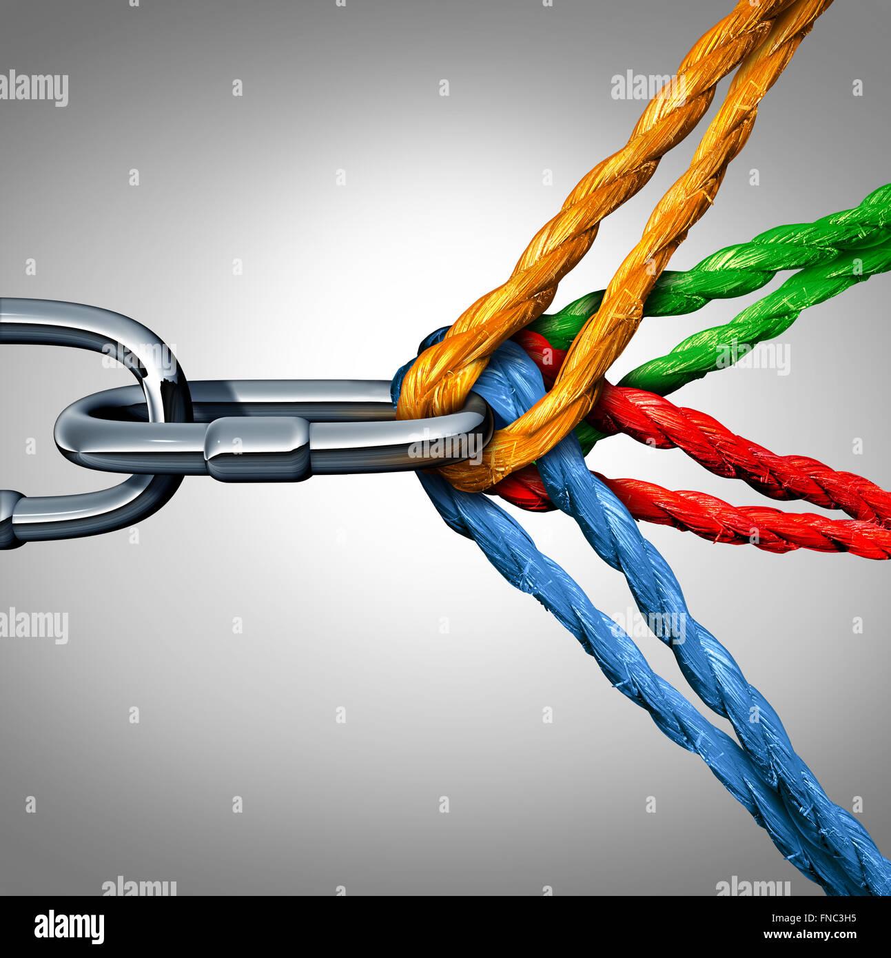 Konzept der Verbindung als verbundene Gruppe Symbol mit ...
