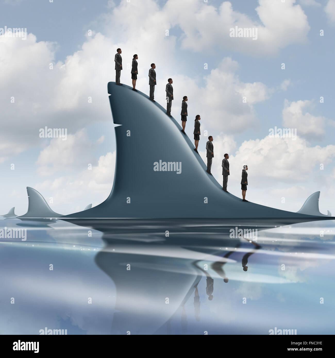 Konzept der Risiko-Geschäft-Metapher als eine Gruppe von mutigen oder unbewusst Geschäftsleute auf der Stockbild