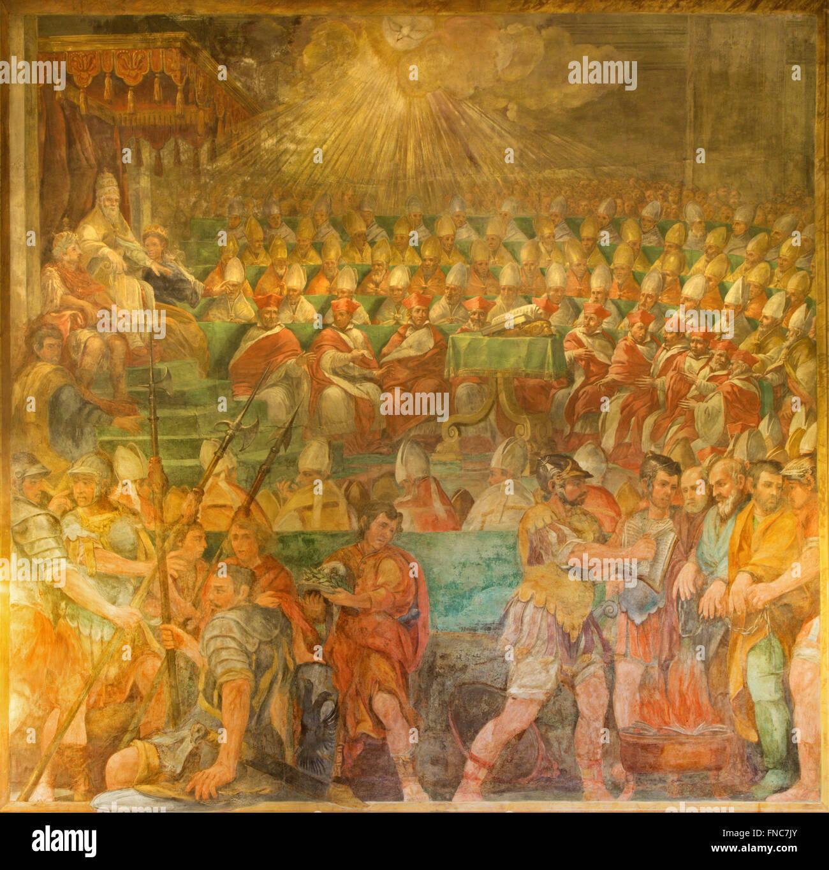 Rom, Italien - 26. März 2015: Der Papst Sylvester Vorsitz auf der Synode von 324 von Galeazzo Leoncino (1640) Stockfoto