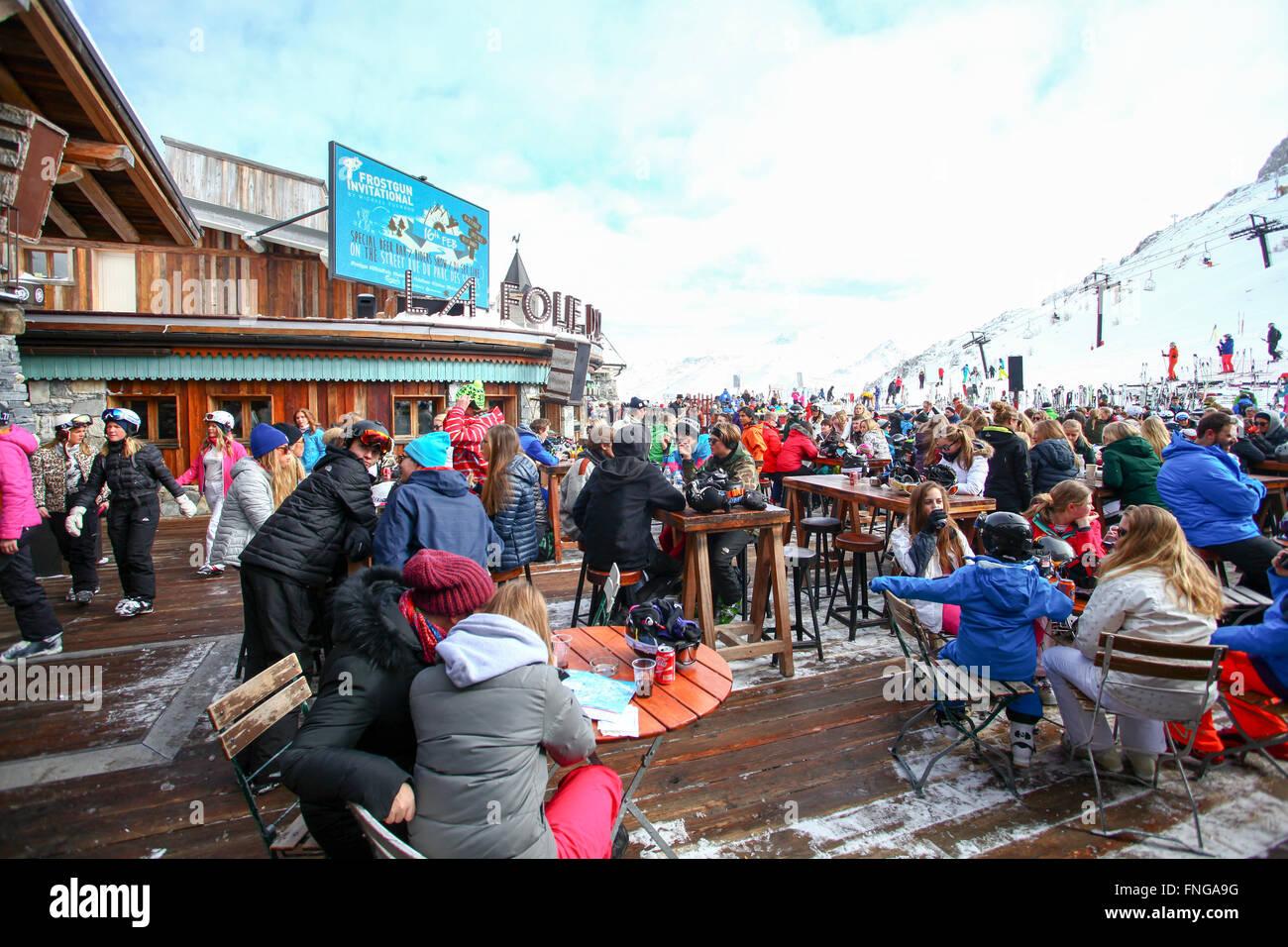 Tignes, Frankreich, Ski Resort. La Folie Douce club Stockbild
