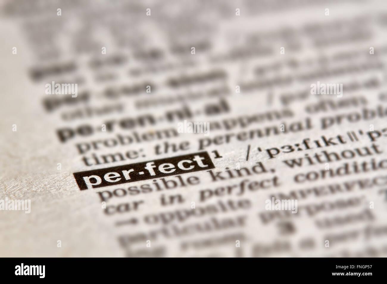 Perfekte Wort Definition Text im Wörterbuch Stockbild