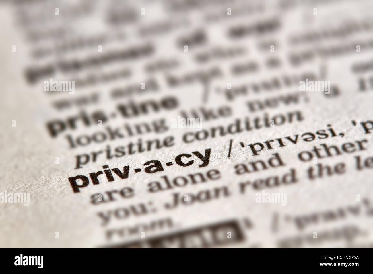 Privatsphäre-Wort-Definition-Text im Wörterbuch Stockbild