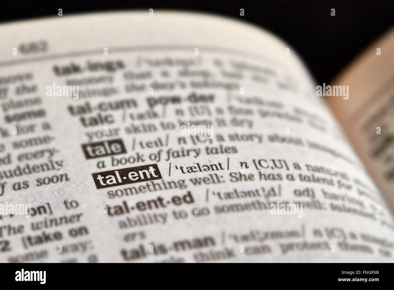 Talent-Wort-Definition-Text im Wörterbuch Stockbild
