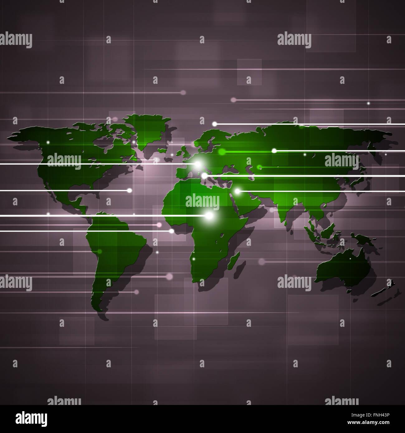 abstrakte geschäftlichen und technologischen Konzept Hintergrund mit grüne Karte Stockbild