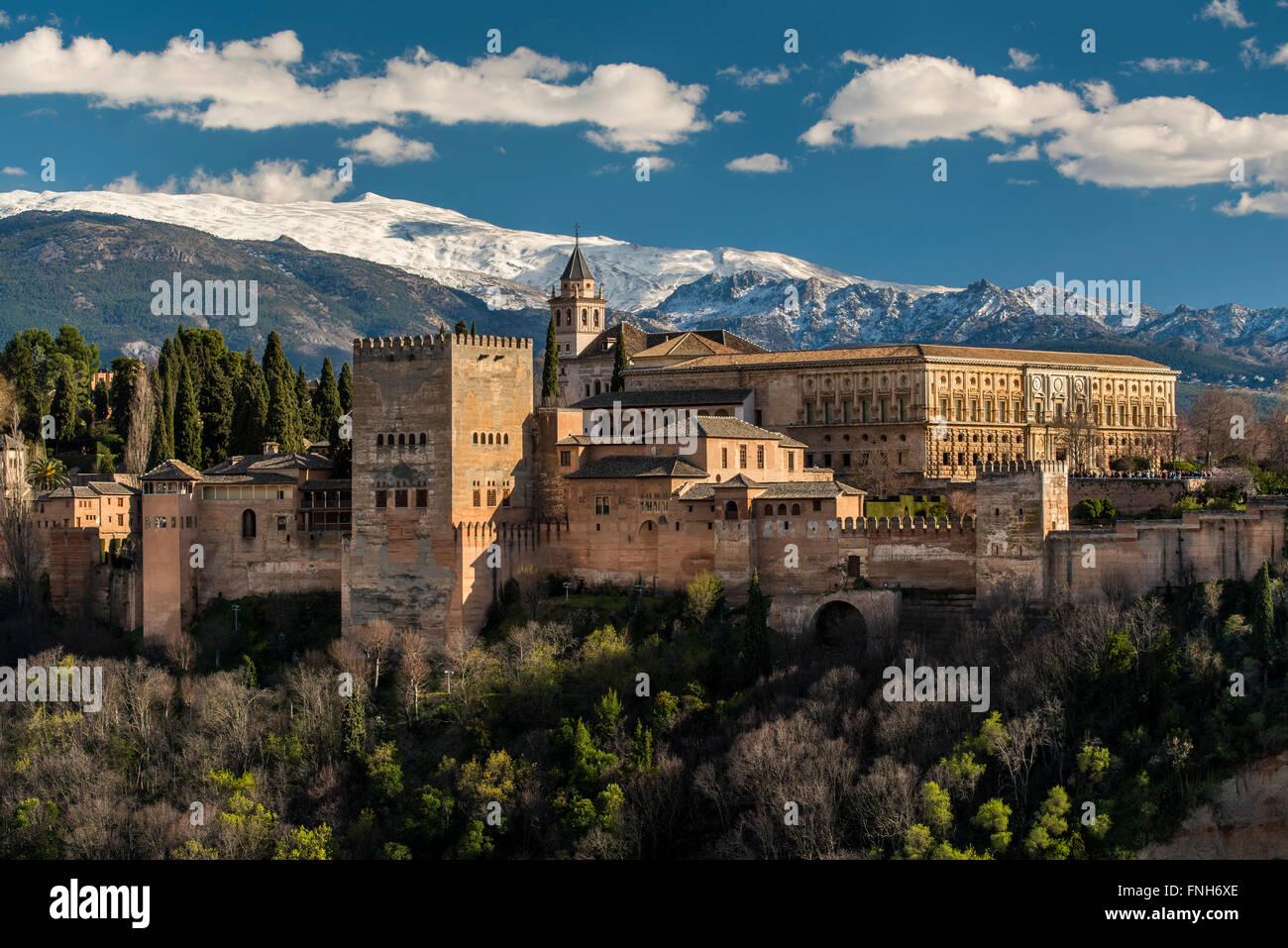 Alhambra-Palast mit der verschneiten Sierra Nevada im Hintergrund, Granada, Andalusien, Spanien Stockbild