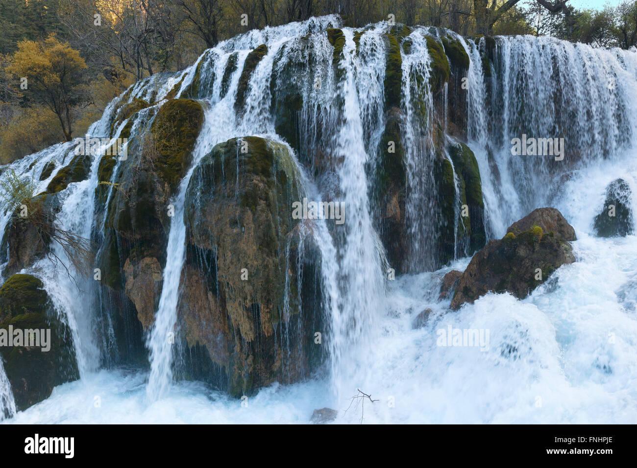 Bambus See Wasserfall Nationalpark Jiuzhaigou Provinz Sichuan