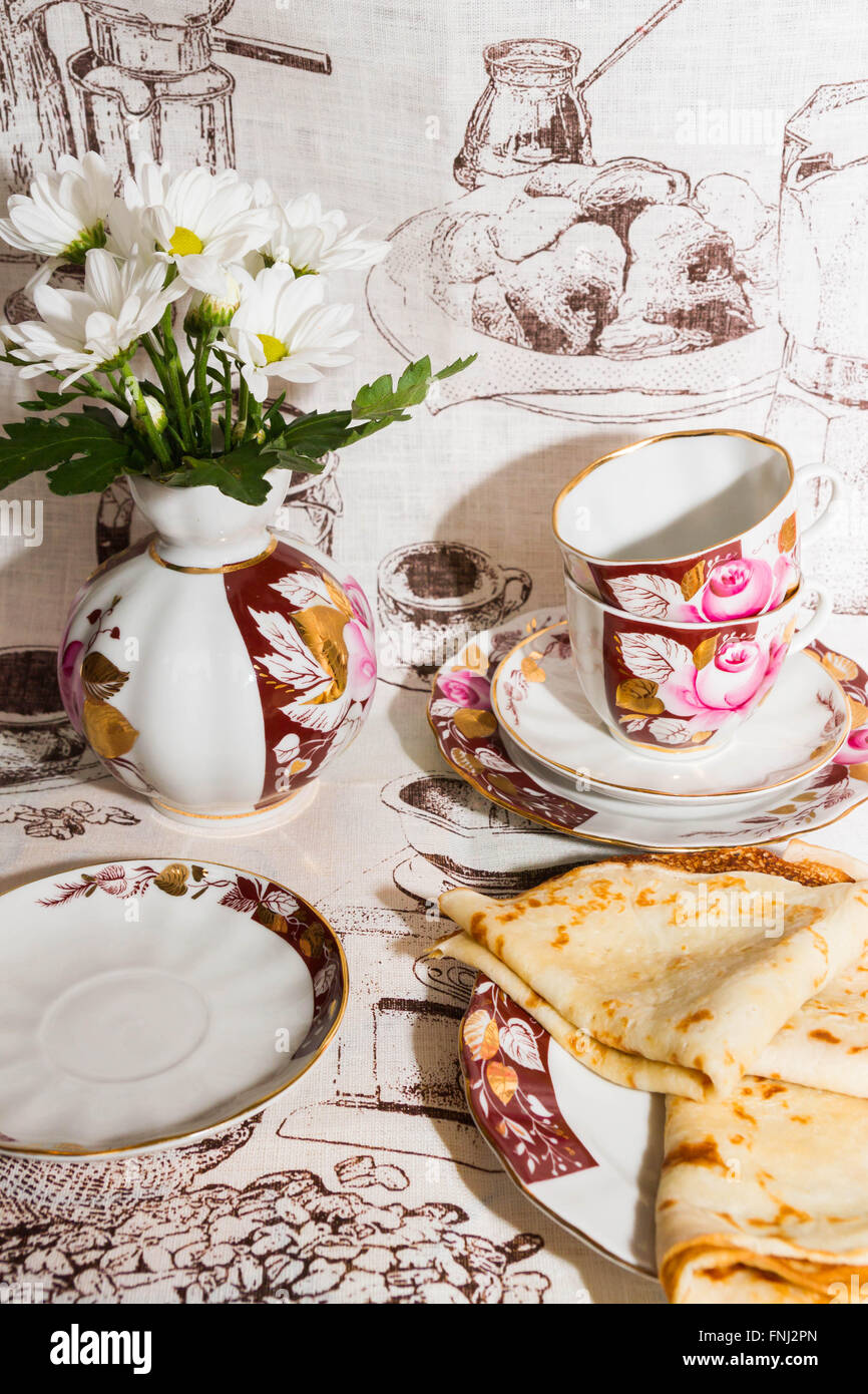 Pfannkuchen zum Frühstück Stockbild