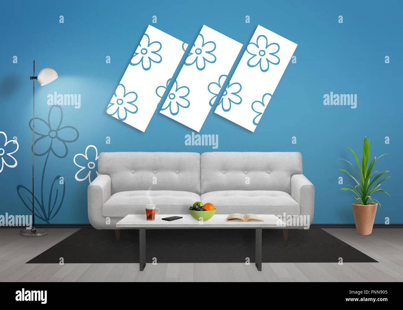 Blumen Auf Leinwand Im Wohnzimmer Blaue Wand Mit Blume Tapete Und