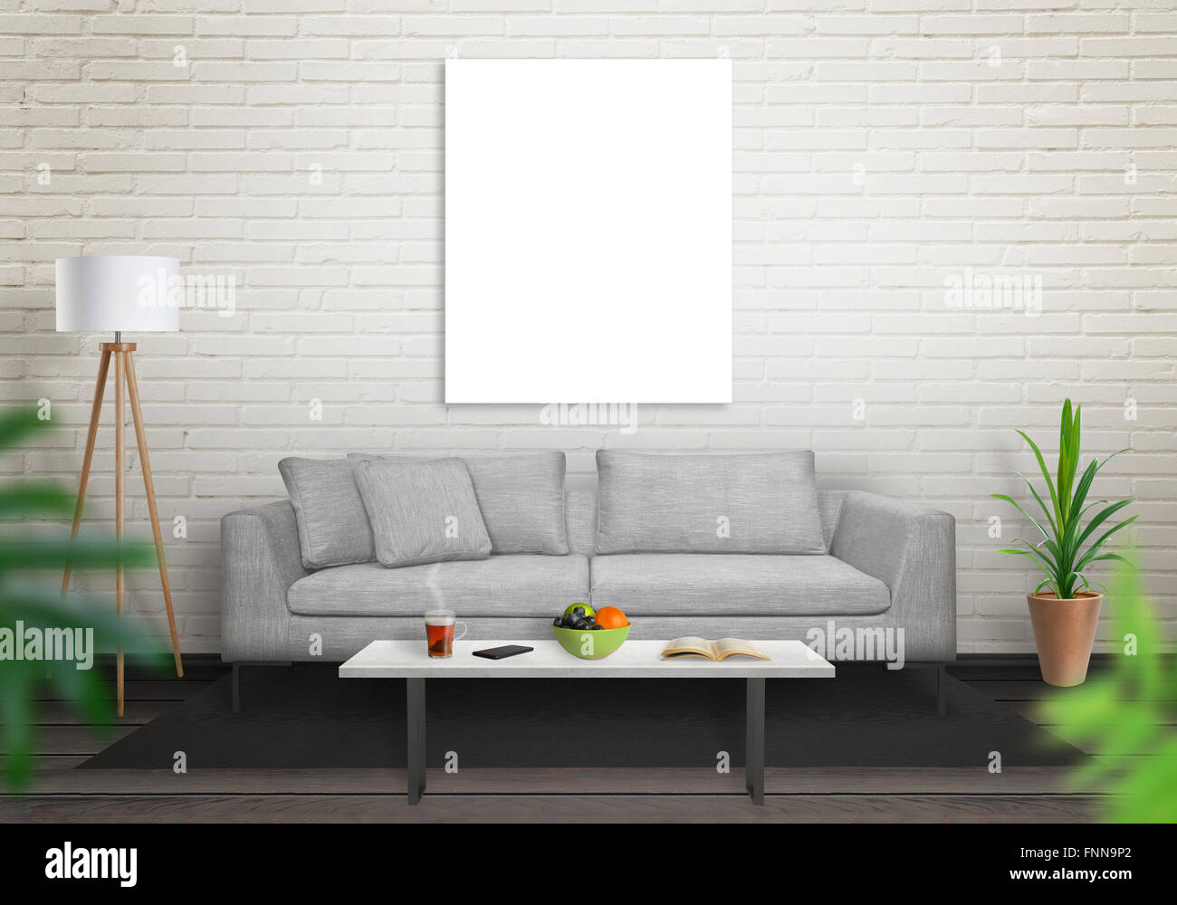 isolierte leinwand im wohnzimmer f r mock up ziegelmauer wei en und schwarzen holzboden sofa. Black Bedroom Furniture Sets. Home Design Ideas