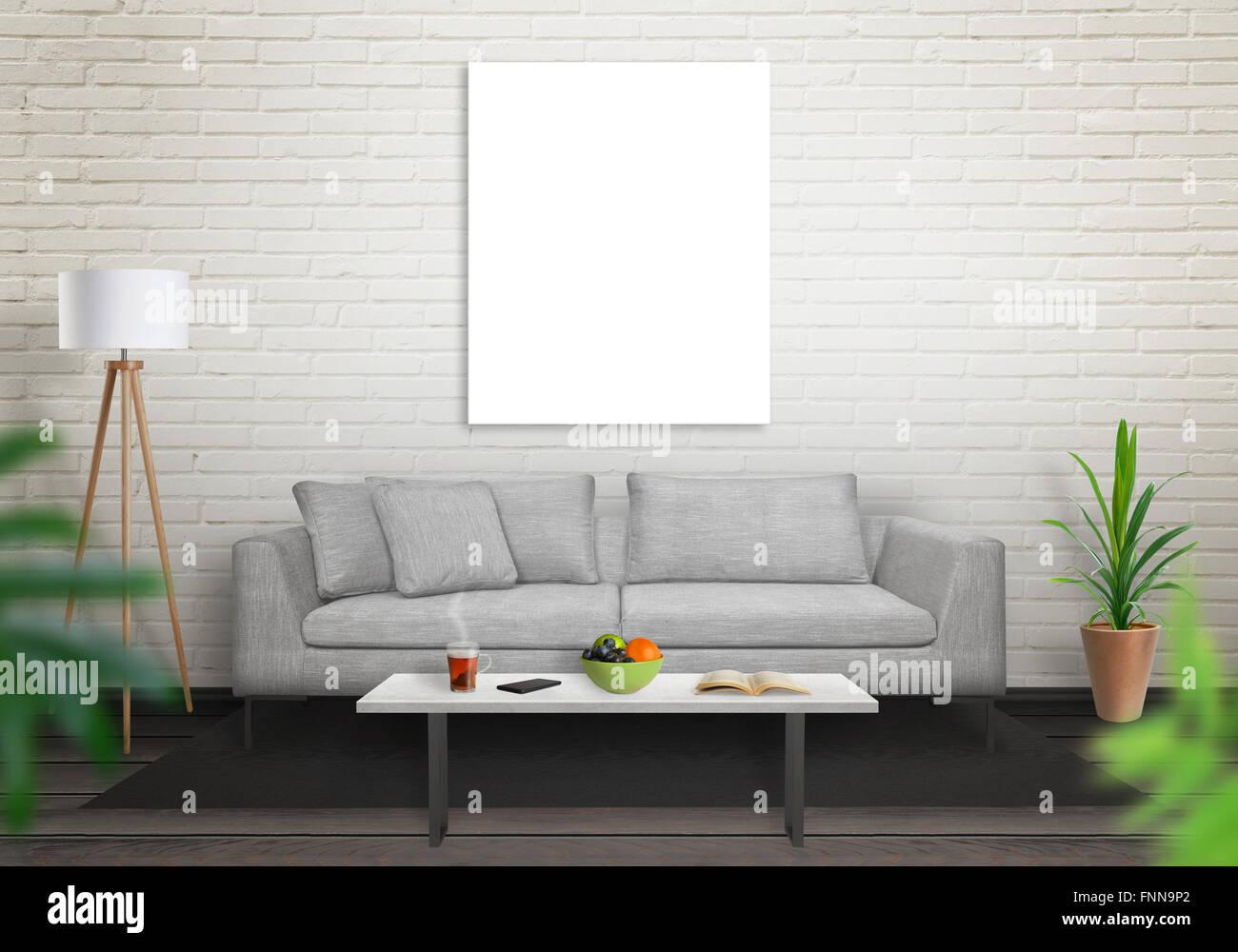 Isolierte Leinwand im Wohnzimmer für Mock-up. Ziegelmauer weißen ...