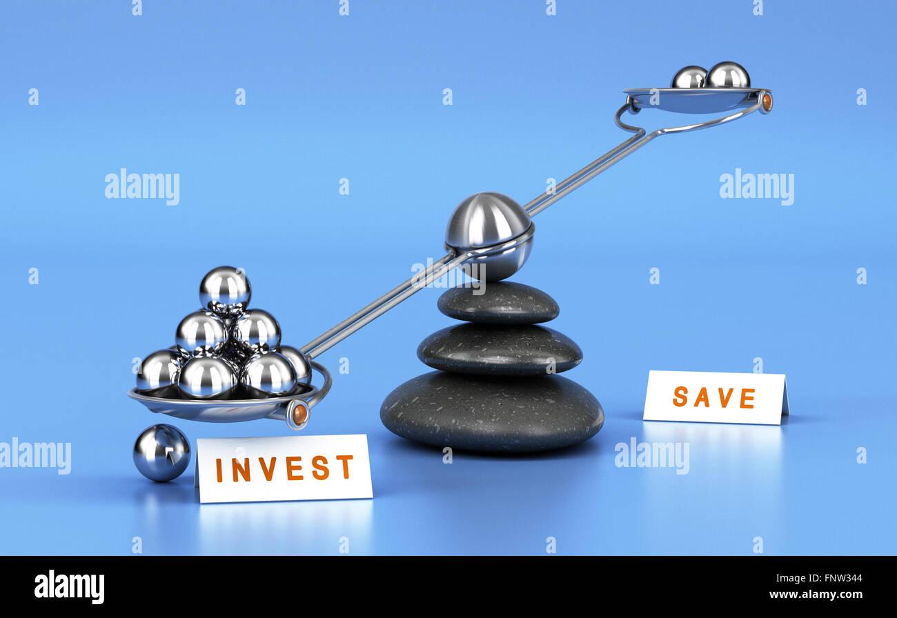 Wippe mit Metallkugeln auf blauem Hintergrund. Konzept der Investition im Vergleich Geld sparen Stockfoto