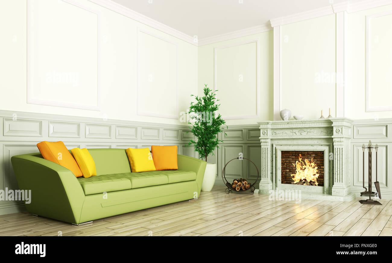 Wohnzimmer Einrichtung Mit Grunen Sofa Und Kamin 3d Rendering