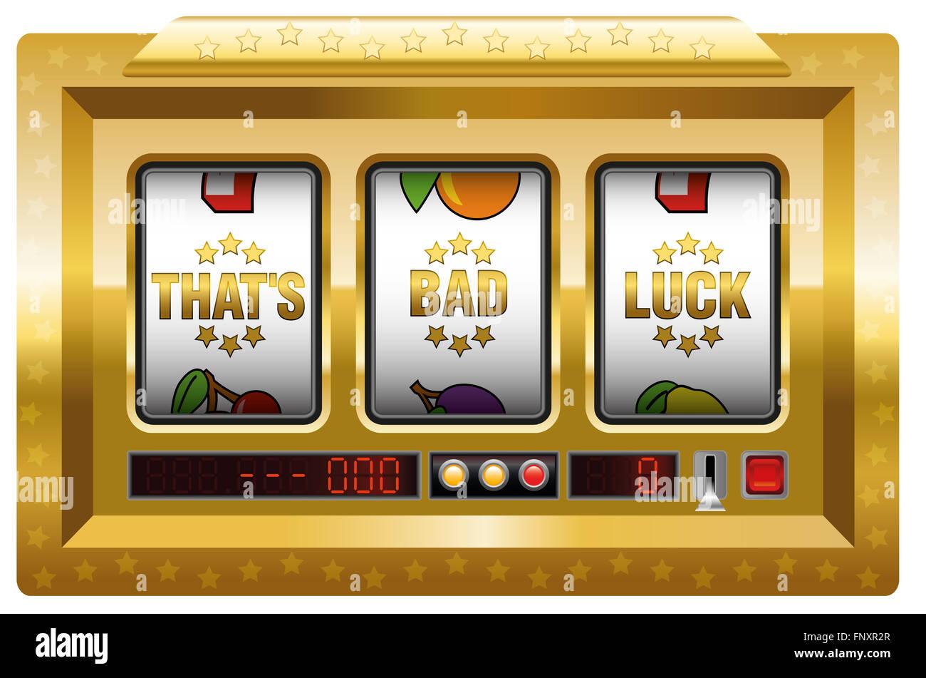 Das ist Pech - golden-Spielautomat mit drei Walzen als Symbol für Unglück. Abbildung auf weißem Hintergrund. Stockfoto