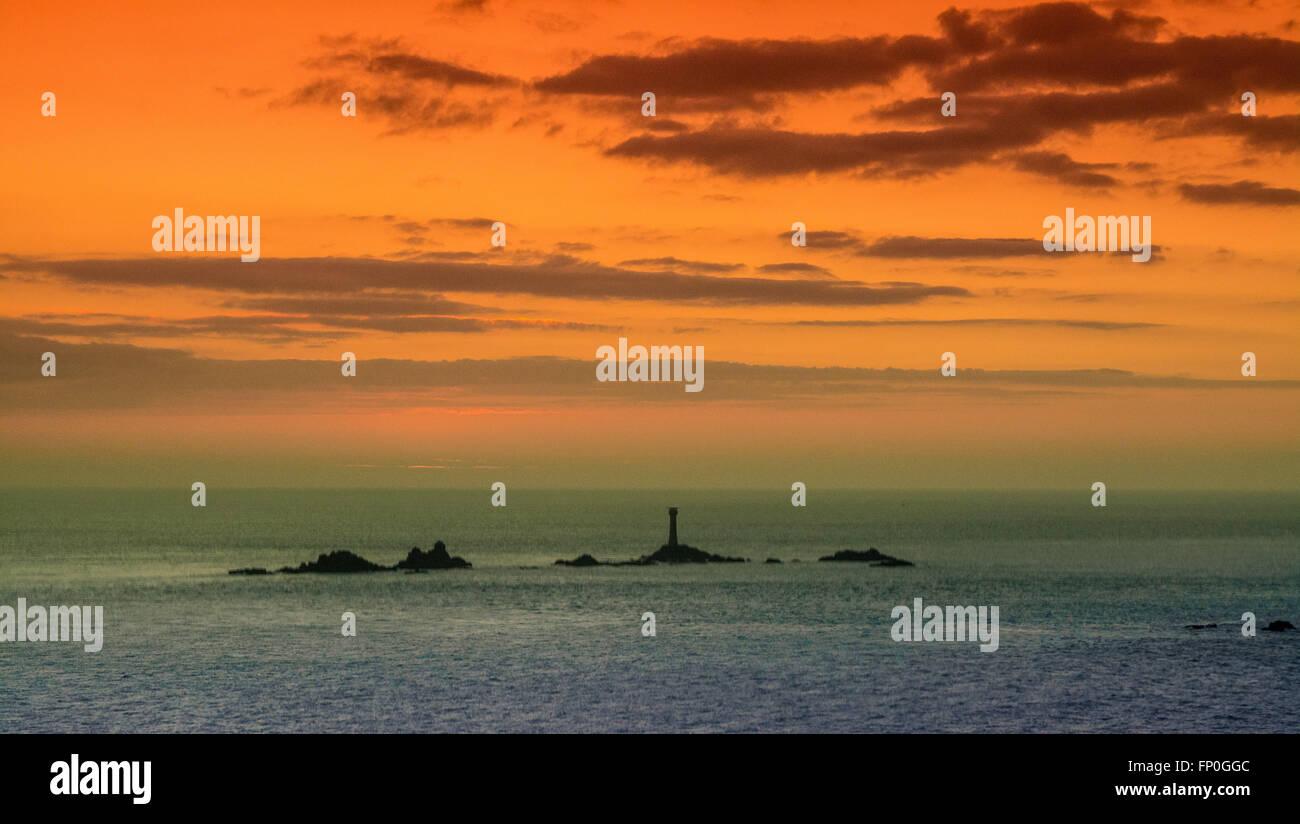 Lands End, Cornwall, UK. 16. März 2016. Großbritannien Wetter. Sonnenuntergang am Lands End. Bildnachweis: Simon Maycock/Alamy Live-Nachrichten Stockfoto